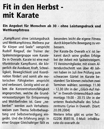 Fit in den Herbst - mit Karate